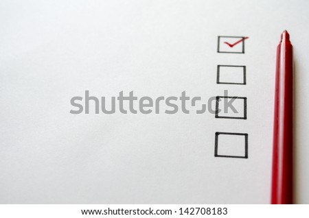 Evaluation form with checkboxes and copyspace - stock photo