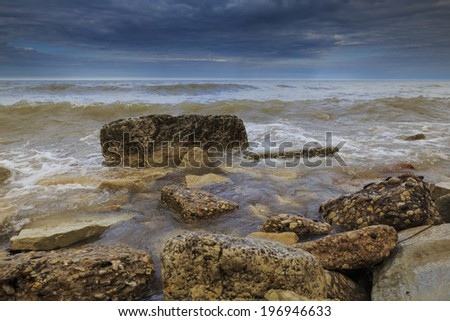 Evanston rocky shoreline. Location: Evanston, Illinois - stock photo
