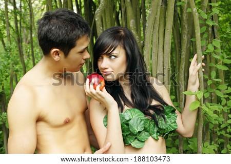 Eve and Adam - stock photo