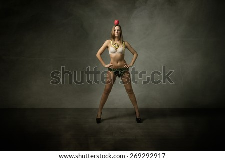 eve human target concept, apple up on head - stock photo