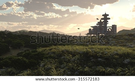 evening aerial view of Futuristic City  - stock photo