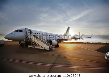 evening airfield - stock photo