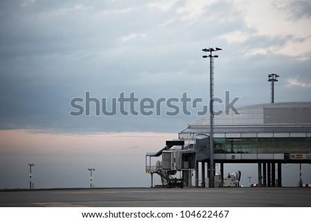 Evening airport, Prague, Czech Republic - stock photo