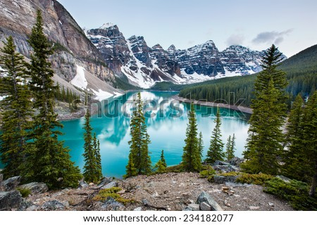 Evening at Moraine Lake taken from the rockpile. It is probably the most iconic Canadian lake. - stock photo