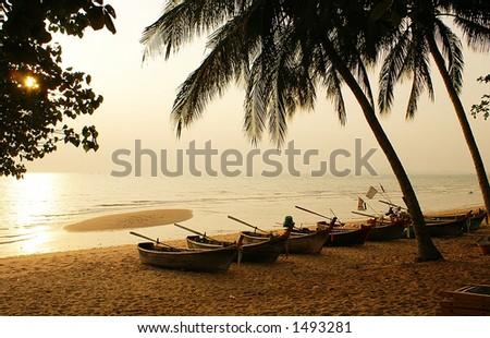 Evening beach of Pattaya, Thailand - stock photo