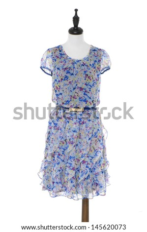 Evening blue dress on a dummy isolated on a white background - stock photo