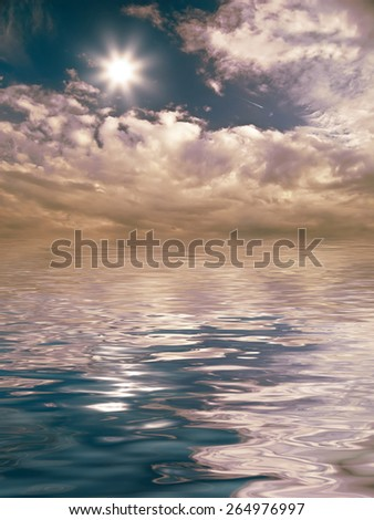 evening clouds over the water - stock photo