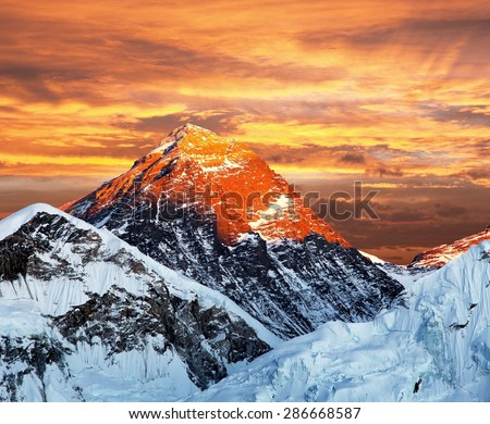 Evening colored view of Mount Everest from Kala Patthar, Khumbu valley, Solukhumbu, Sagarmatha national park, Nepal  - stock photo