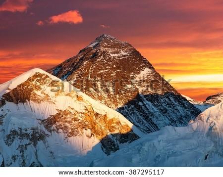 Evening colored view of Mount Everest from Kala Patthar, Khumbu valley, Solukhumbu, Sagarmatha national park, Nepal  - stock photo