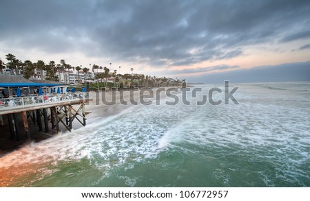 Evening dinner by the sea - stock photo