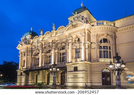 Evening facade of Juliusz Slowacki Theatre in Cracow, Poland - stock photo