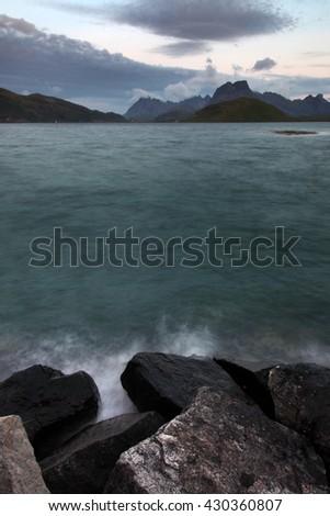 Evening fjord in Lofoten Islands - stock photo