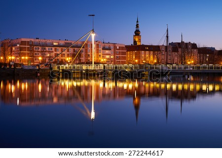 Evening harbour on the river Ryck, West Pomerania. Greifswald - stock photo
