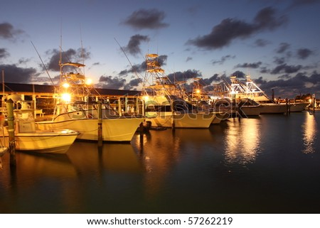 Evening in a marina in Florida - stock photo