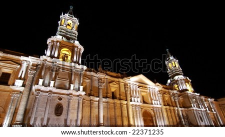 Evening in Arequipa, Peru - stock photo