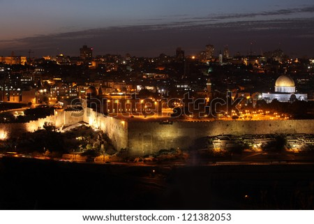 Evening in Old City, Temple Mount with Dome of the Rock view from the Mt of Olives in Jerusalem - stock photo