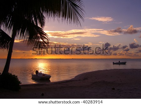 Evening in the Cayman Islands - stock photo