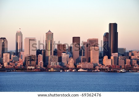 Evening in the Seattle downtown - stock photo