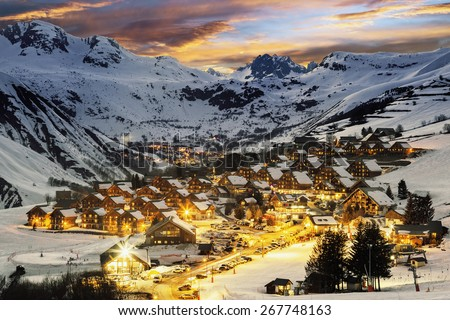 Evening landscape and ski resort in French Alps,Saint jean d'Arves, France  - stock photo