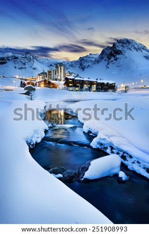 Evening landscape and ski resort in French Alps,Tignes, Tarentaise, France  - stock photo