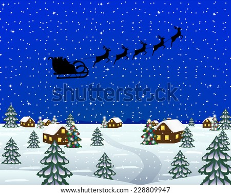 Evening landscape at Christmas - stock photo