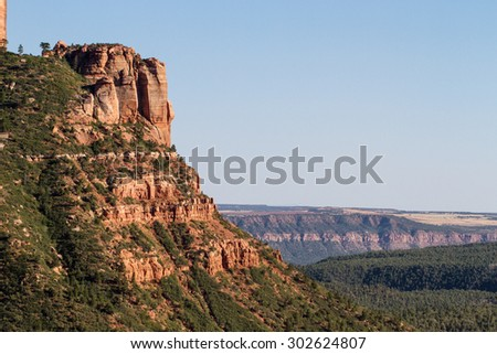 Evening light on rock wall in Kolob Canyons section of Zion National Park - stock photo