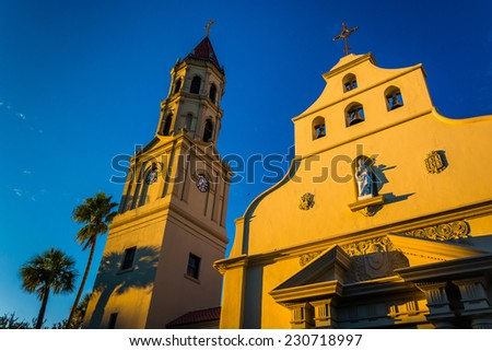 Evening light on the Cathedral Basilica in St. Augustine, Florida. - stock photo