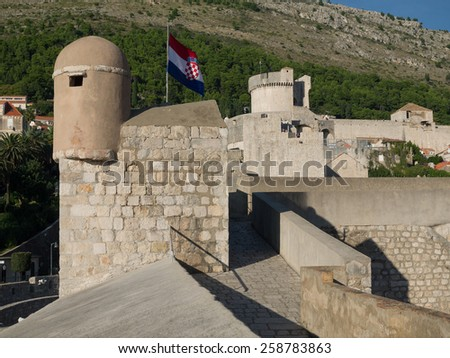 Evening light on the medieval city of Dubrovnik in Croatia - stock photo
