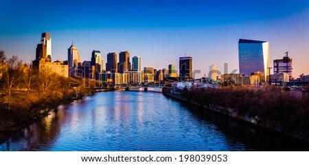 Evening light on the skyline and Schuylkill River in Philadelphia, Pennsylvania. - stock photo