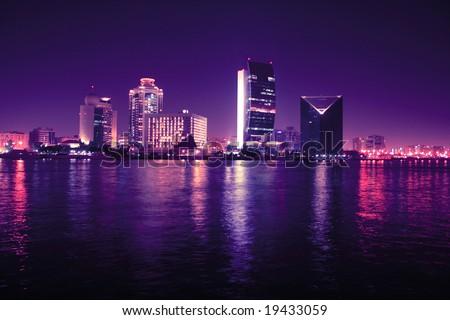 evening lights in dubai, united arab emirates - stock photo