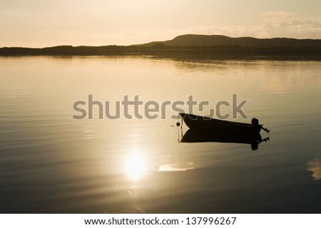 evening mood in norway - stock photo