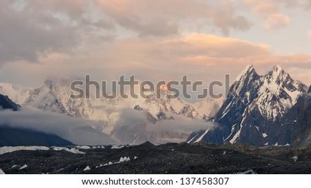 Evening Mood in the Karakorum Mountains, Pakistan - stock photo