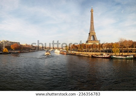 Evening on Seine river in Paris, France. - stock photo