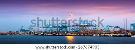 Evening panorama of  Port of Algeciras - one of  largest ports in Europe - stock photo