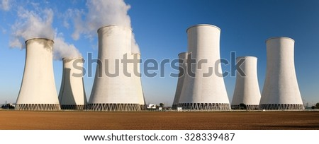 Evening panoramatic view of Nuclear power plant Jaslovske Bohunice - Slovakia - stock photo