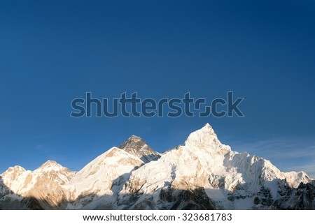 Evening panoramic view of Mount Everest from Kala Patthar - Way to Everest base camp, Everest area, Sagarmatha national park, Khumbu valley, Nepal - stock photo
