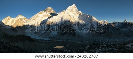 Evening panoramic view of Mount Everest from Kala Patthar - way to Everest base camp - Nepal  - stock photo