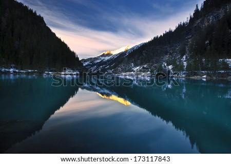 evening reflection - stock photo