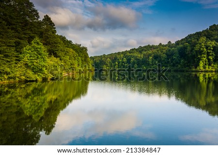 Evening reflections at Lake Oolenoy, Table Rock State Park, South Carolina. - stock photo