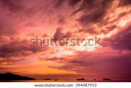 Evening Scene Fiery Backdrop  - stock photo