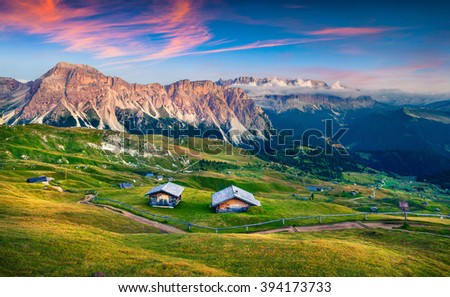 Evening scene in Gardena valley with Pizes de Cir mountain gange. Colorfu sunset in Dolomite Alps, Province Bolzano, South Tyrol, Location Ortisei, S. Cristina, Italy, Europe. - stock photo