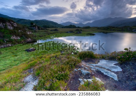 Evening sky over lakes in Killarney National Park, Republic of Ireland, Europe - stock photo