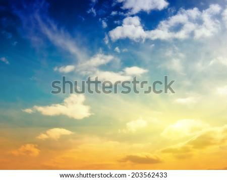 Evening sky. Summer tropical shot - stock photo