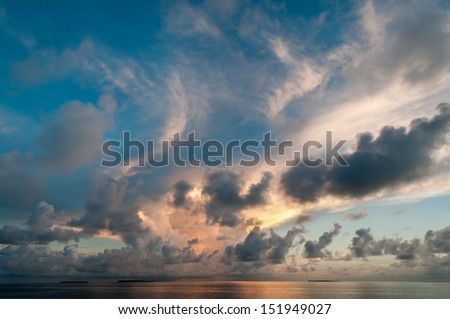 Evening sky with dramatic clouds over the sea - stock photo