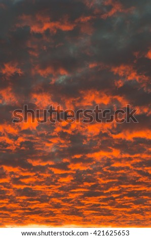 evening sky with dramatic sunset clouds - stock photo