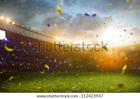 Evening stadium arena soccer field championship win! Confetti and tinsel . Yellow toning - stock photo