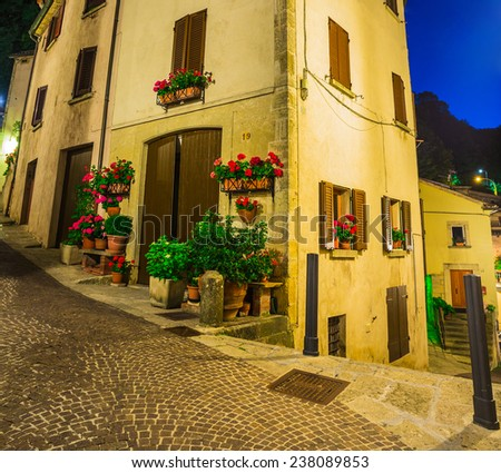 Evening street in the old town of San Marino, Italy - stock photo