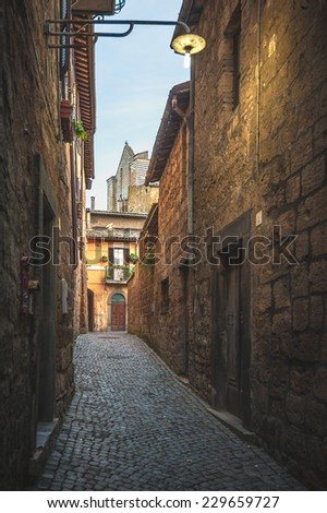 Evening streets of the old Italian city of Orvieto - stock photo