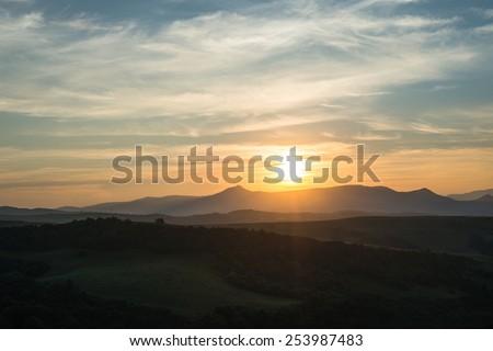 Evening summer landscape in the Ukrainian Carpathian Mountains. - stock photo