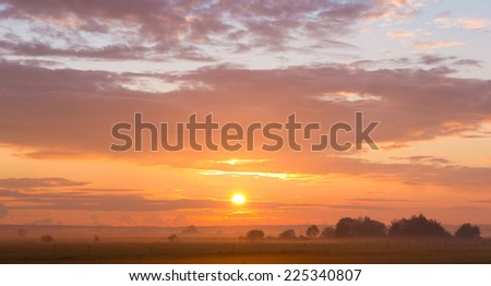 Evening Sun Farm Pasture  - stock photo